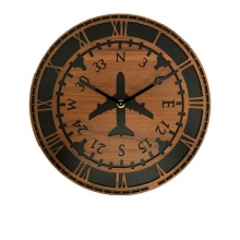 Wooden Directional Gyro Wall Clock 12in