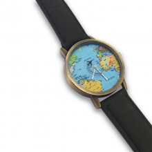 World Map Watch with Leather Band