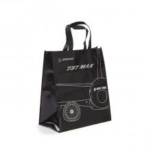B737 MAX Black Metallic Woven Tote Bag