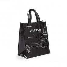 B747 Black Metallic Woven Tote Bag
